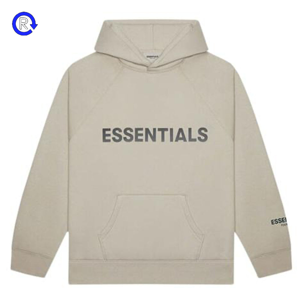 Fear of God Essentials Oatmeal Applique Logo Pullover Hoodie
