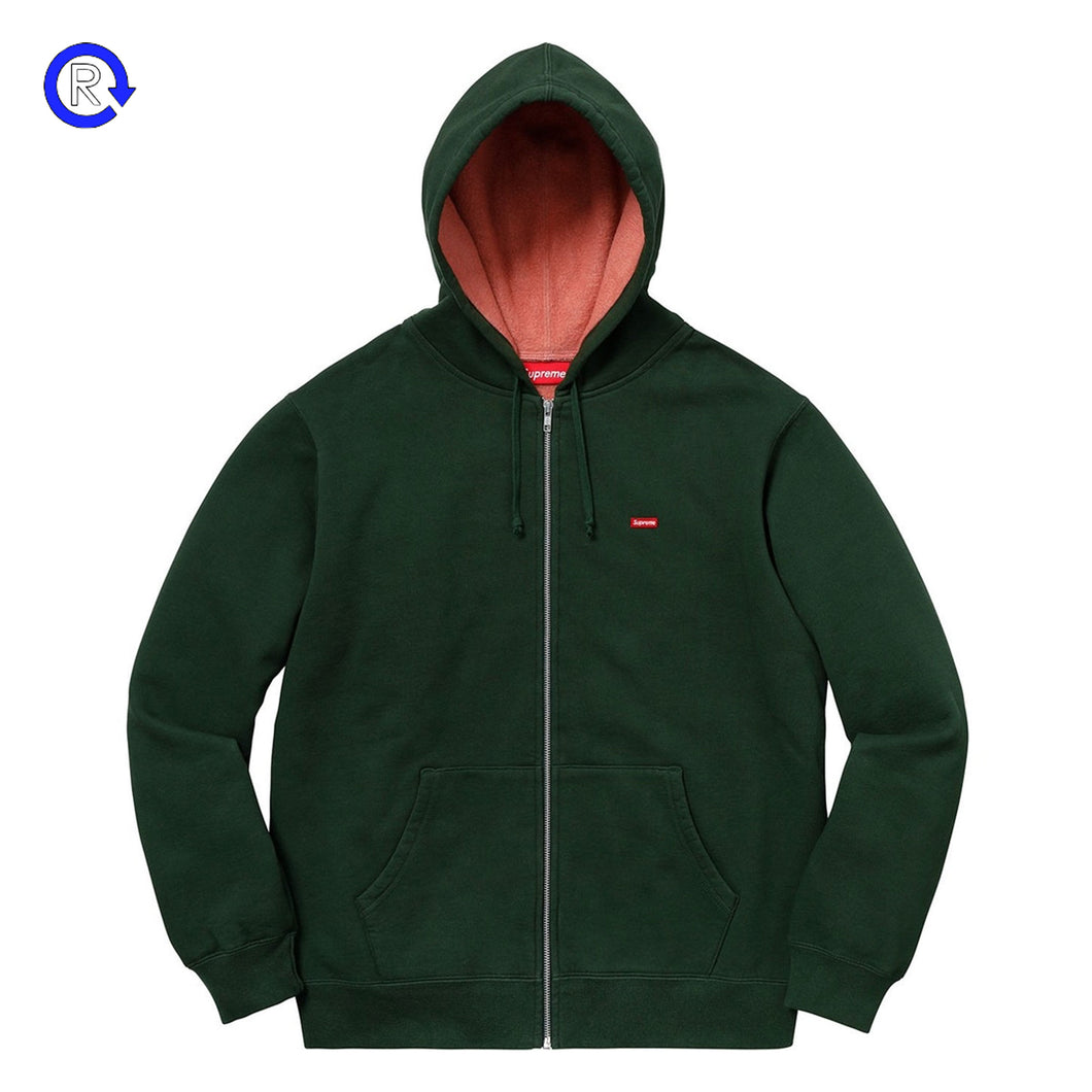 Supreme Dark Green Contrast Zip-Up Hooded Sweatshirt (SS18)