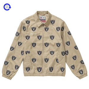 Supreme NFL x Raiders Khaki Embroidered Harrington Jacket (SS19)