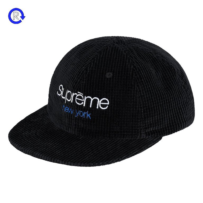 Supreme Black Waffle Cord Classic Logo 6-Panel (FW17)