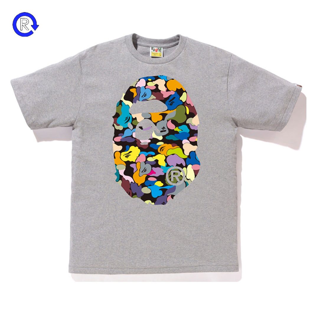 A Bathing Ape Bape Heather Grey/Multicolor Camo Big Ape Head Tee (SS18)