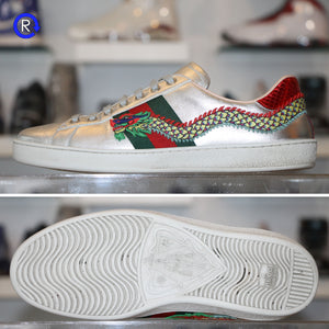 'Silver' Gucci New Ace Embroidered Leather Low-Top Sneaker