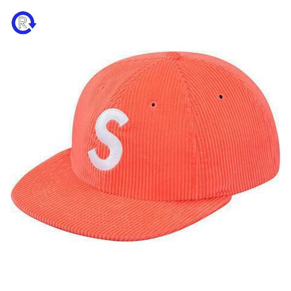 Supreme 'Orange Corduroy S Logo' 6-Panel (SS17)