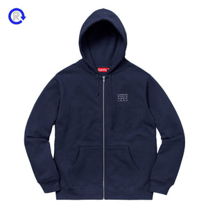 Supreme Navy World Famous Zip-Up Hooded Sweatshirt (SS18)