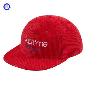 Supreme Red Waffle Cord Classic Logo 6-Panel (FW17)