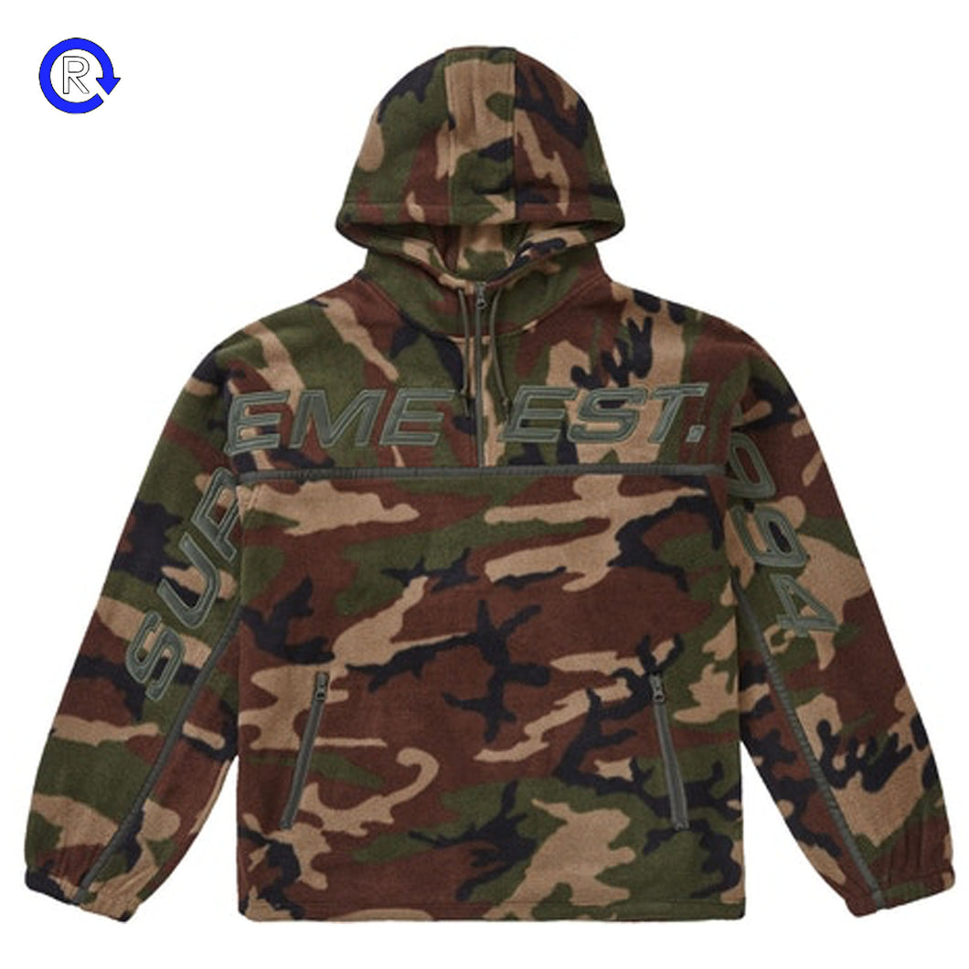 Supreme Woodland Camo Polartec Half Zip Hooded Sweatshirt (FW19)