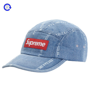 Supreme Blue Logo Stripe Jacquard Denim Camp Cap (FW20)