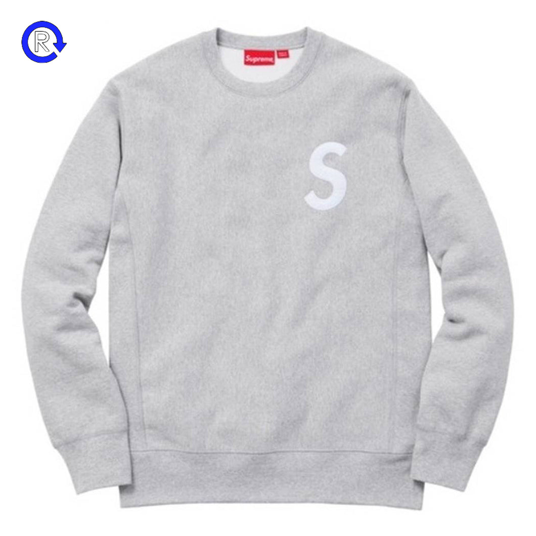 Supreme Heather Grey S Logo Crewneck (FW16)