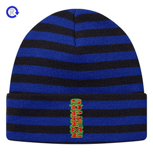 Supreme Royal Vertical Logo Striped Beanie (FW16) – Refresh PGH 55f469f669a