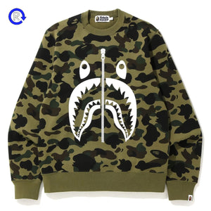 Bape Green 1st Camo White Shark Crewneck (2019)