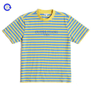 'Yellow/Blue' Guess x A$AP Striped Short Sleeve