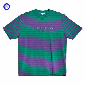 'Purple/Green' Guess x A$AP Striped Short Sleeve
