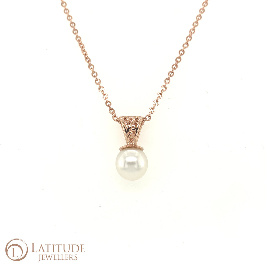 Rose Gold Filigree Pendant with White South Sea Pearl