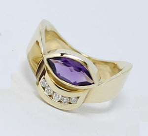 Marquise Amethyst and Diamond Ring