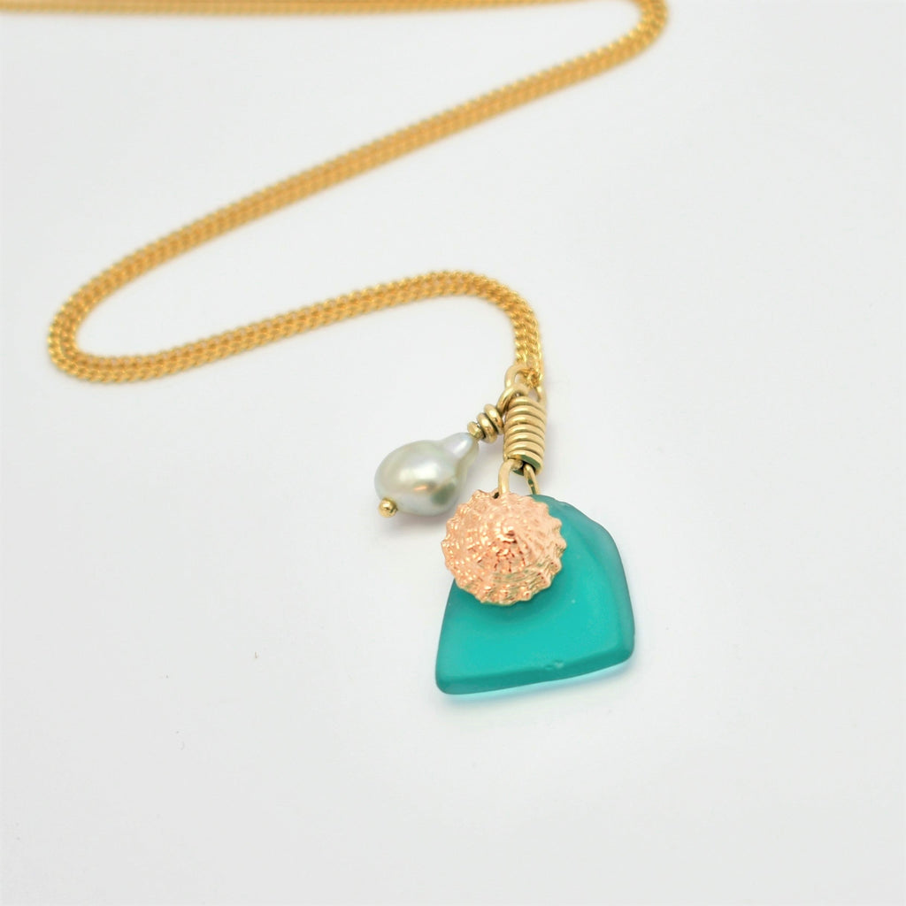 Rose Gold Shell & Abrolhos Island Keshi Sea Glass Pendant
