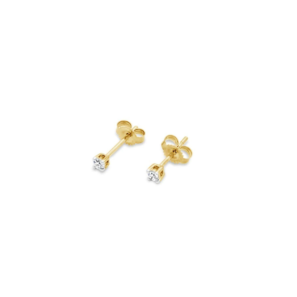 9ct Yellow Gold Stud Earrings TCW=0.10ct