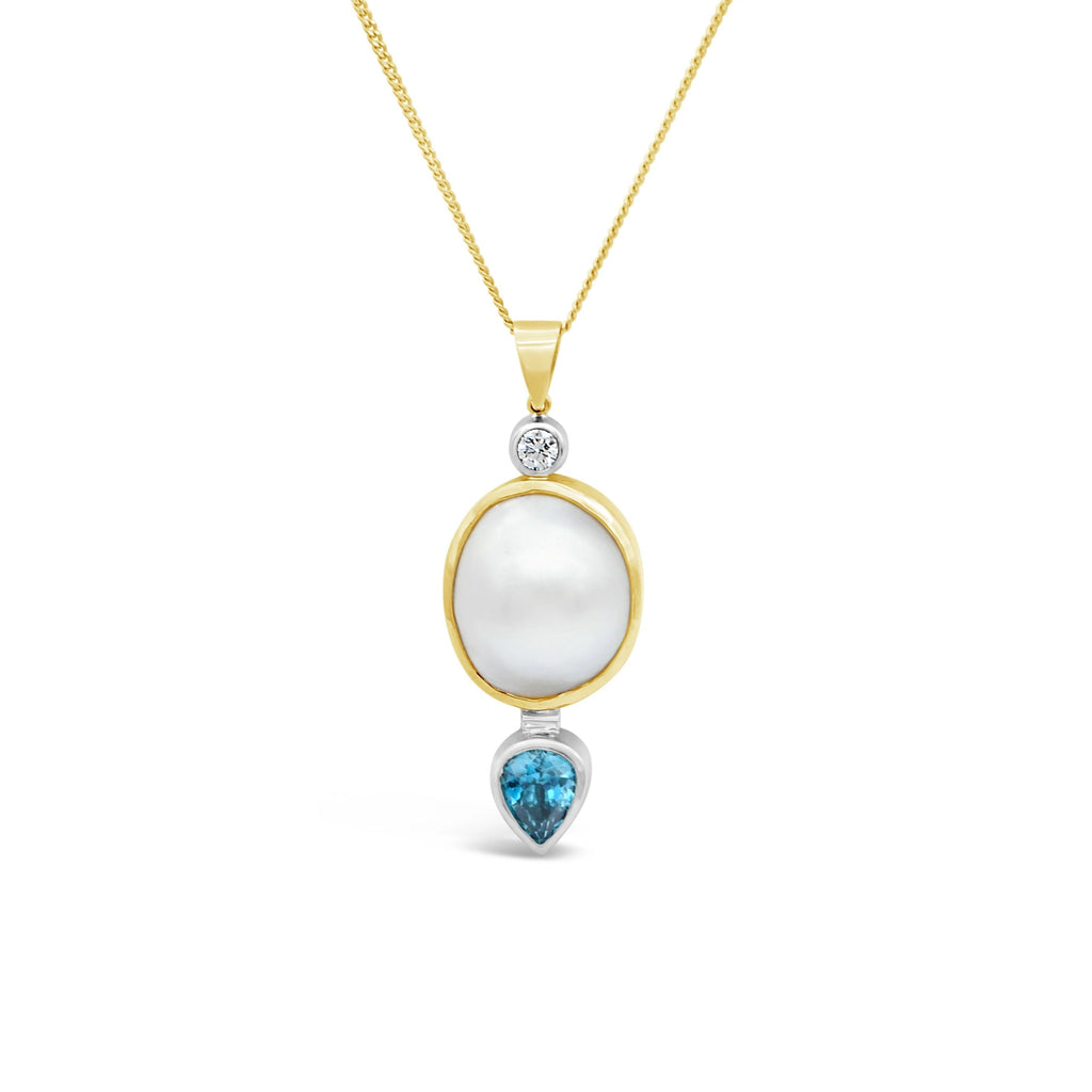 Blue & White Mabe Delight Pendant