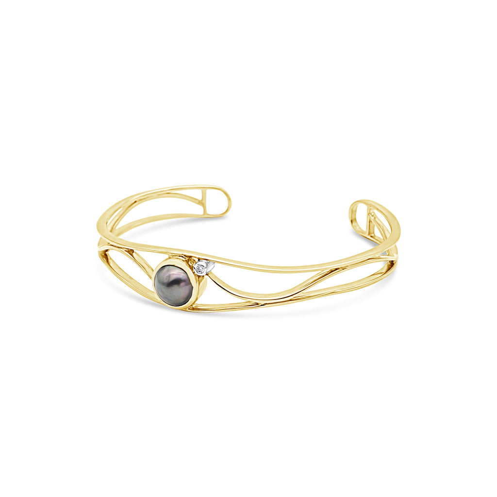 Open Lexi Cuff featuring Abrolhos Island Pearl and Diamond