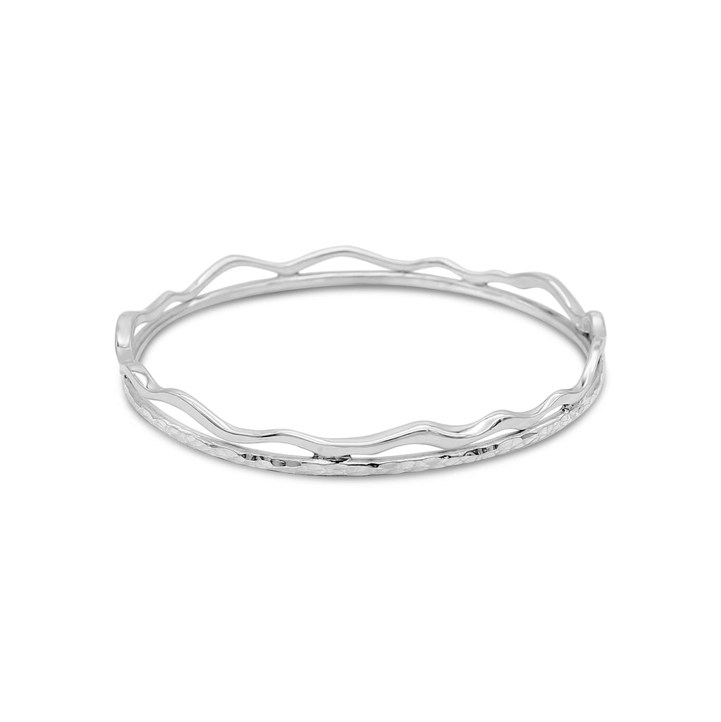Sea Shore Wave Bangle Sterling Silver