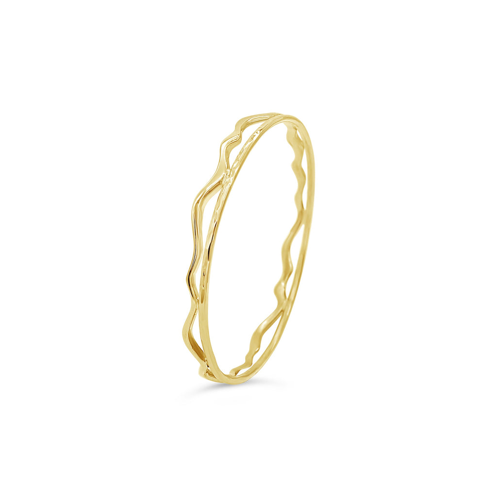 Sea Shore Wave Bangle 9ct Yellow Gold