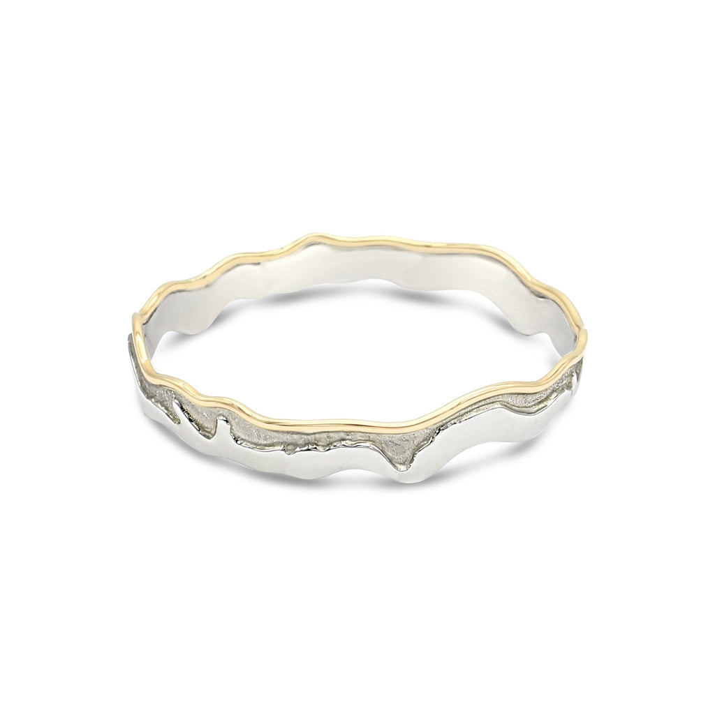 Island Bound Medium Width Sterling Silver & 9ct Yellow Gold Pelsaert Bangle