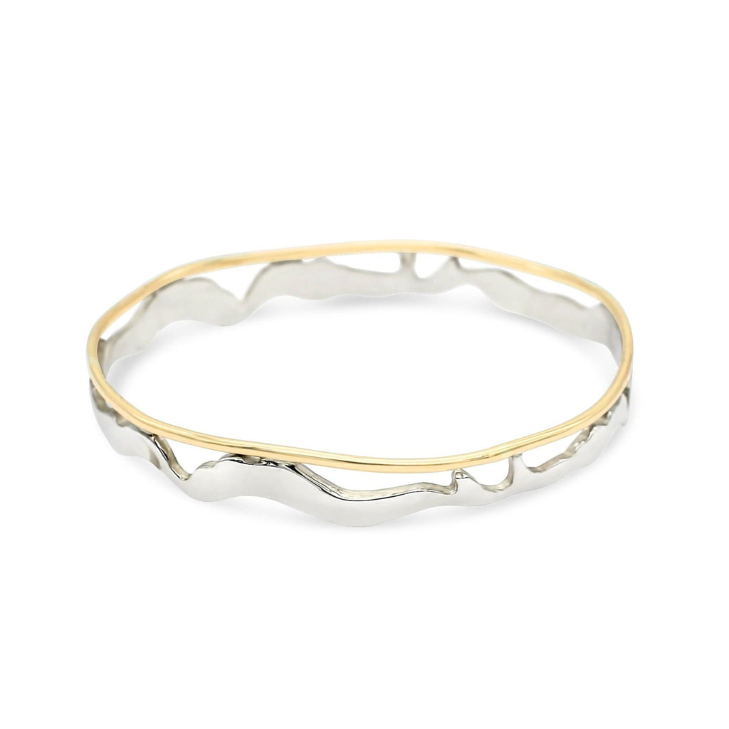 Island Bound Medium Width Open Sterling Silver & 9ct Yellow Gold Pelsaert Bangle