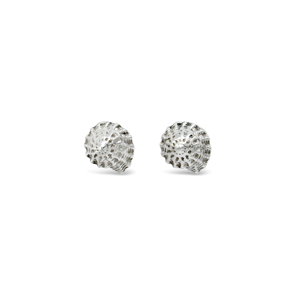 Latitude Button Shell Earrings Sterling Silver
