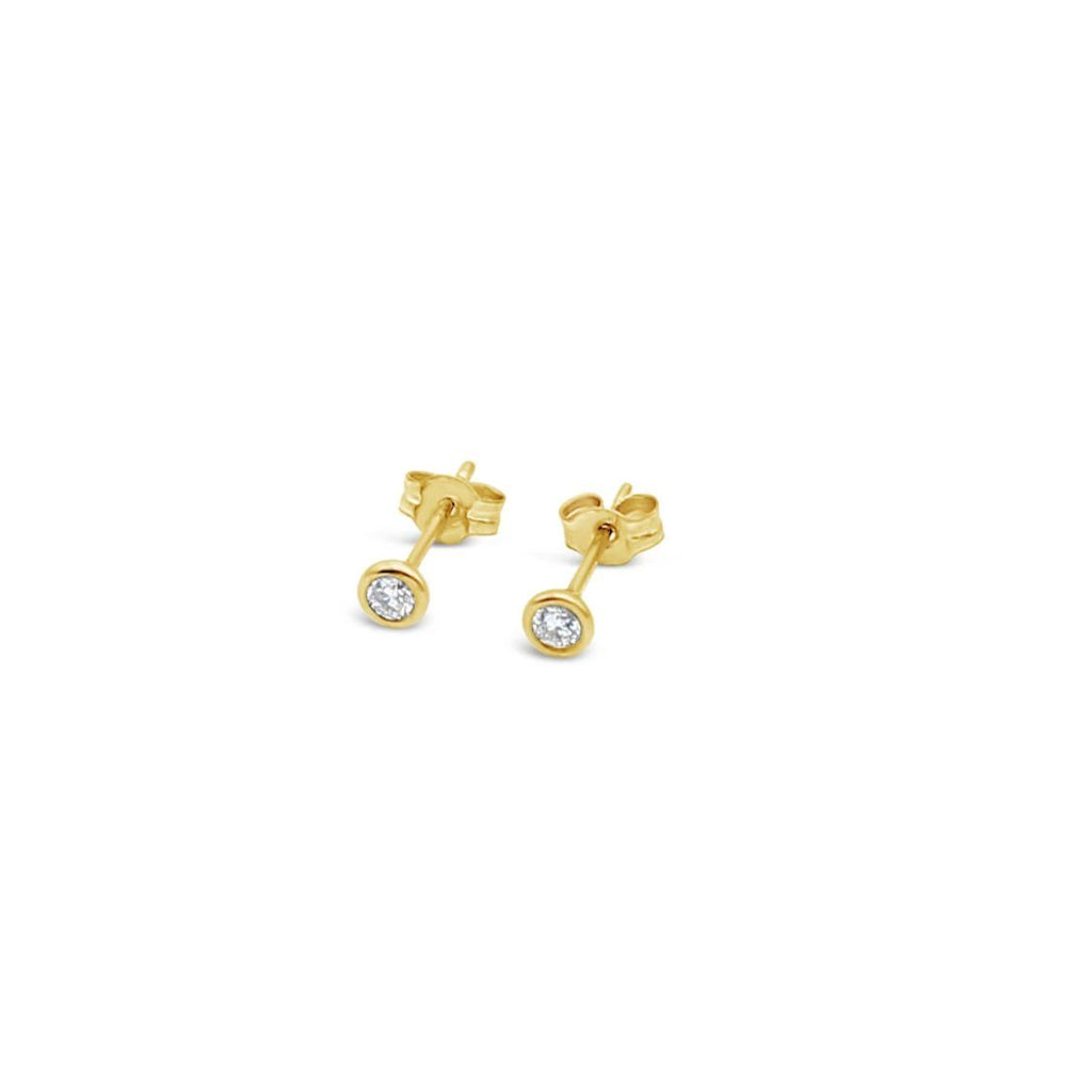 9ct Yellow Gold Stud Earrings Bezel Set TCW=0.15ct