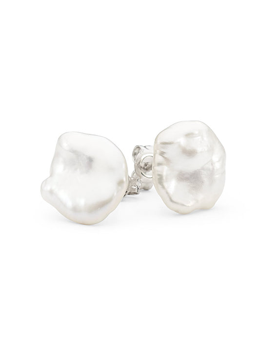 White Keshi Freshwater Pearl Stud Earrings