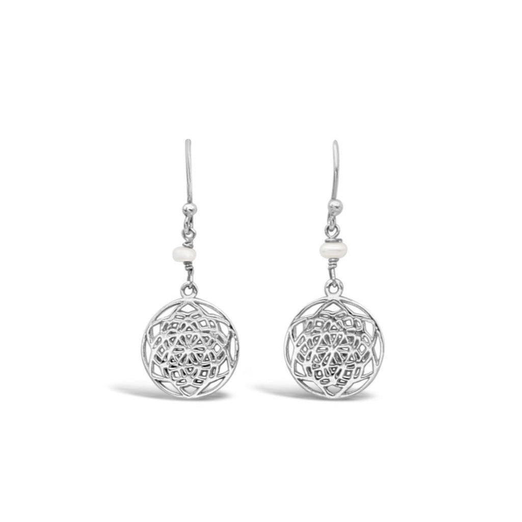 Sterling Silver Lotus Star Pearl Earrings