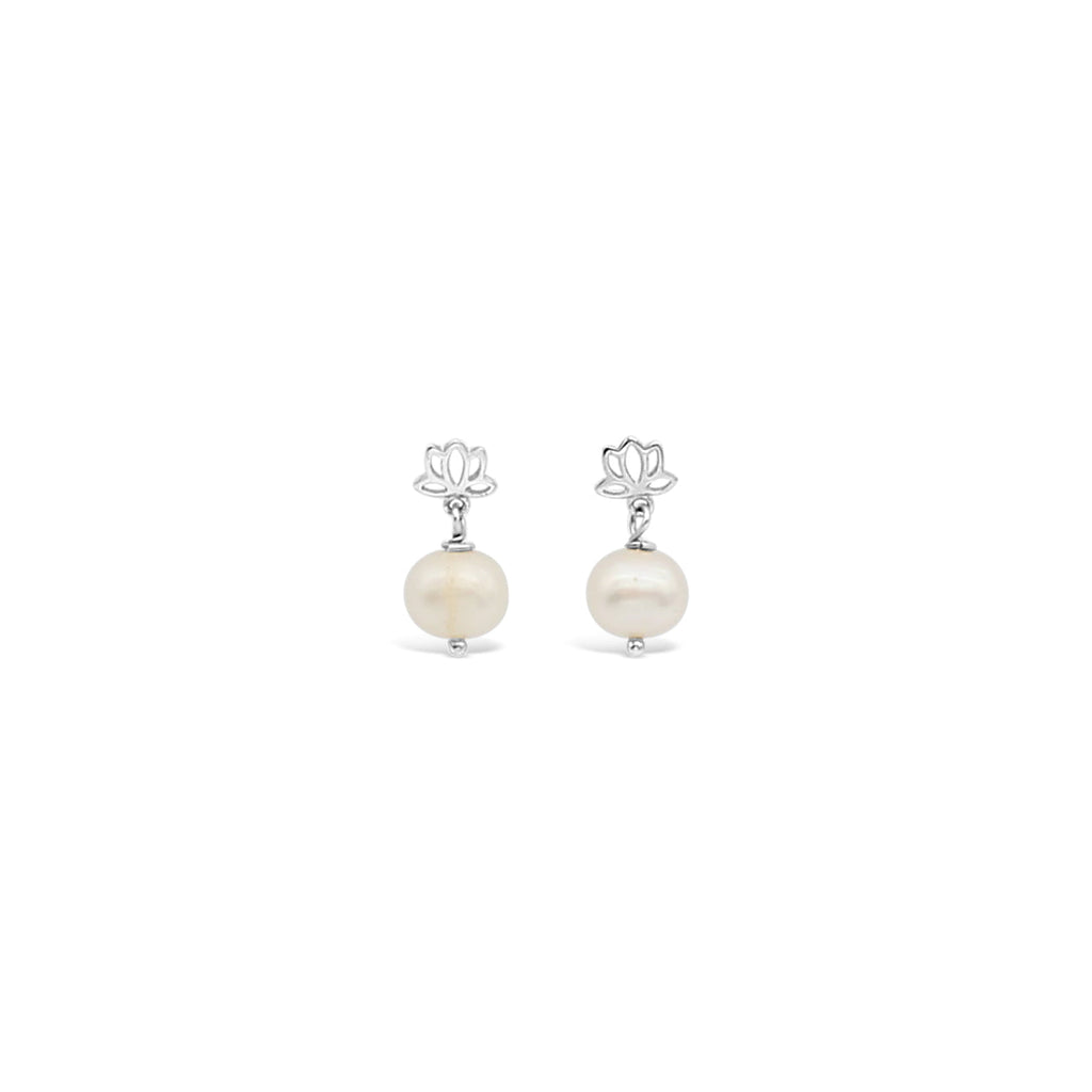 Sterling Silver Lotus Pearl Earrings
