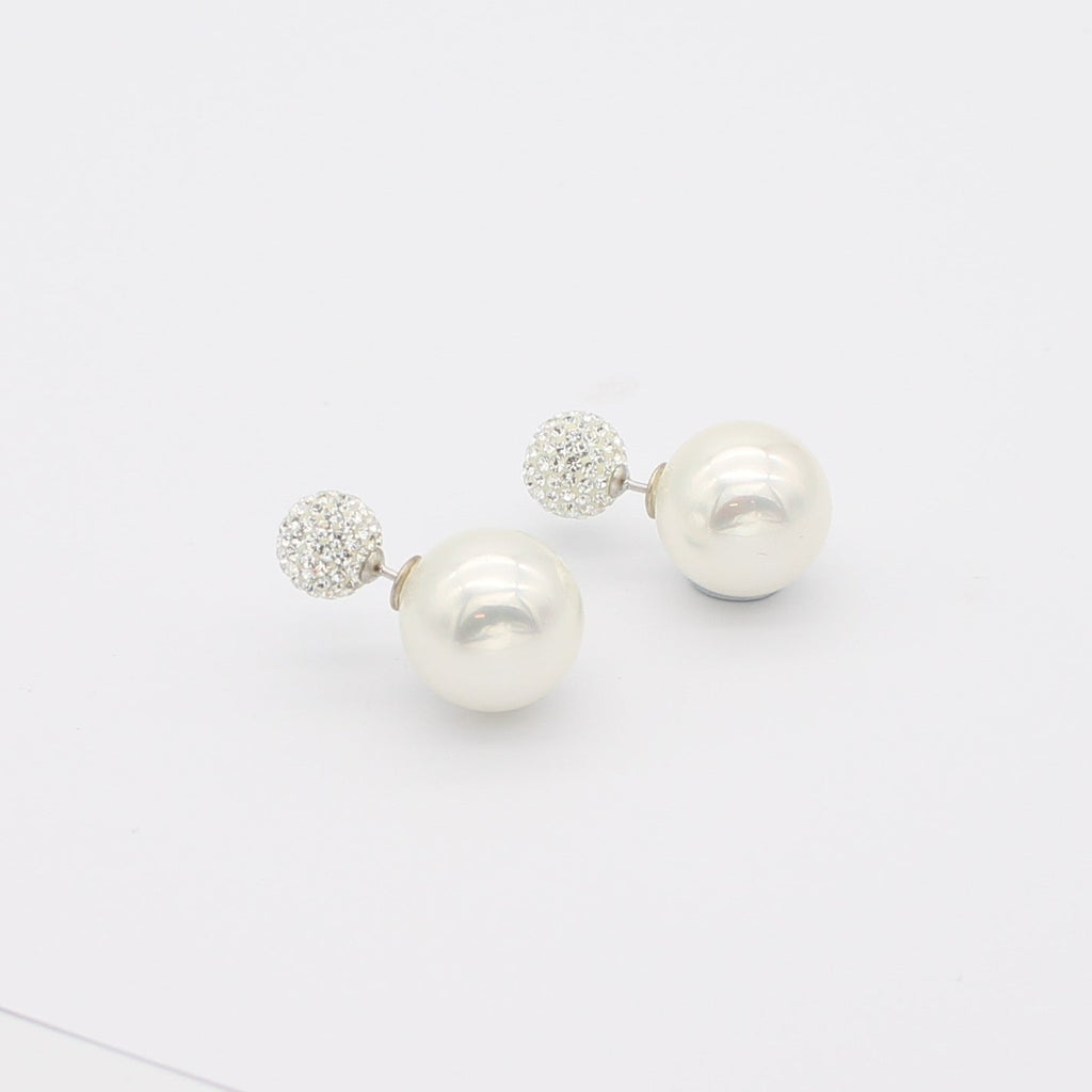 Faux Pearl and Cubic Zirconia stud earrings