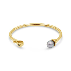 9ct Yellow Gold Goddess Abrolhos Pearl and Sapphire Cuff