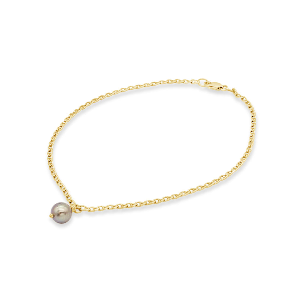 Yellow Gold Anklet Abrolhos Island Black Pearl (bar link chain)