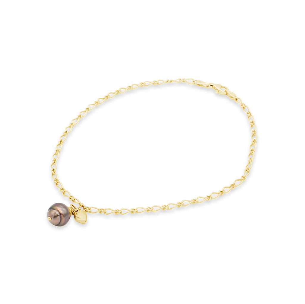 Yellow Gold Anklet Abrolhos Island Black Pearl with Heart Charm