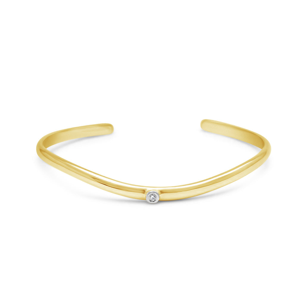 Yellow Gold Skyline Cuff and Diamond