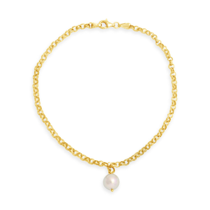 Yellow Gold Anklet Abrolhos Island Black Pearl
