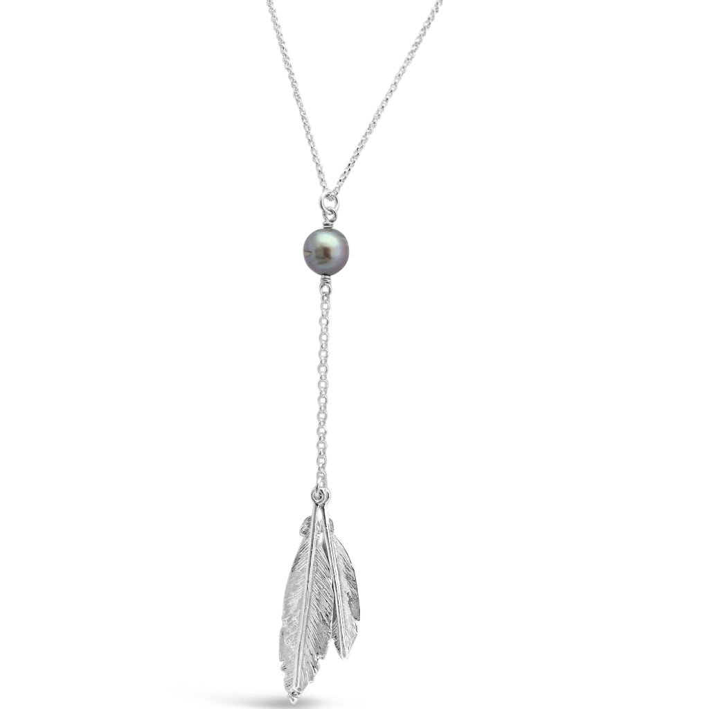 Double Feather & Abrolhos Pearl Silver Pendant