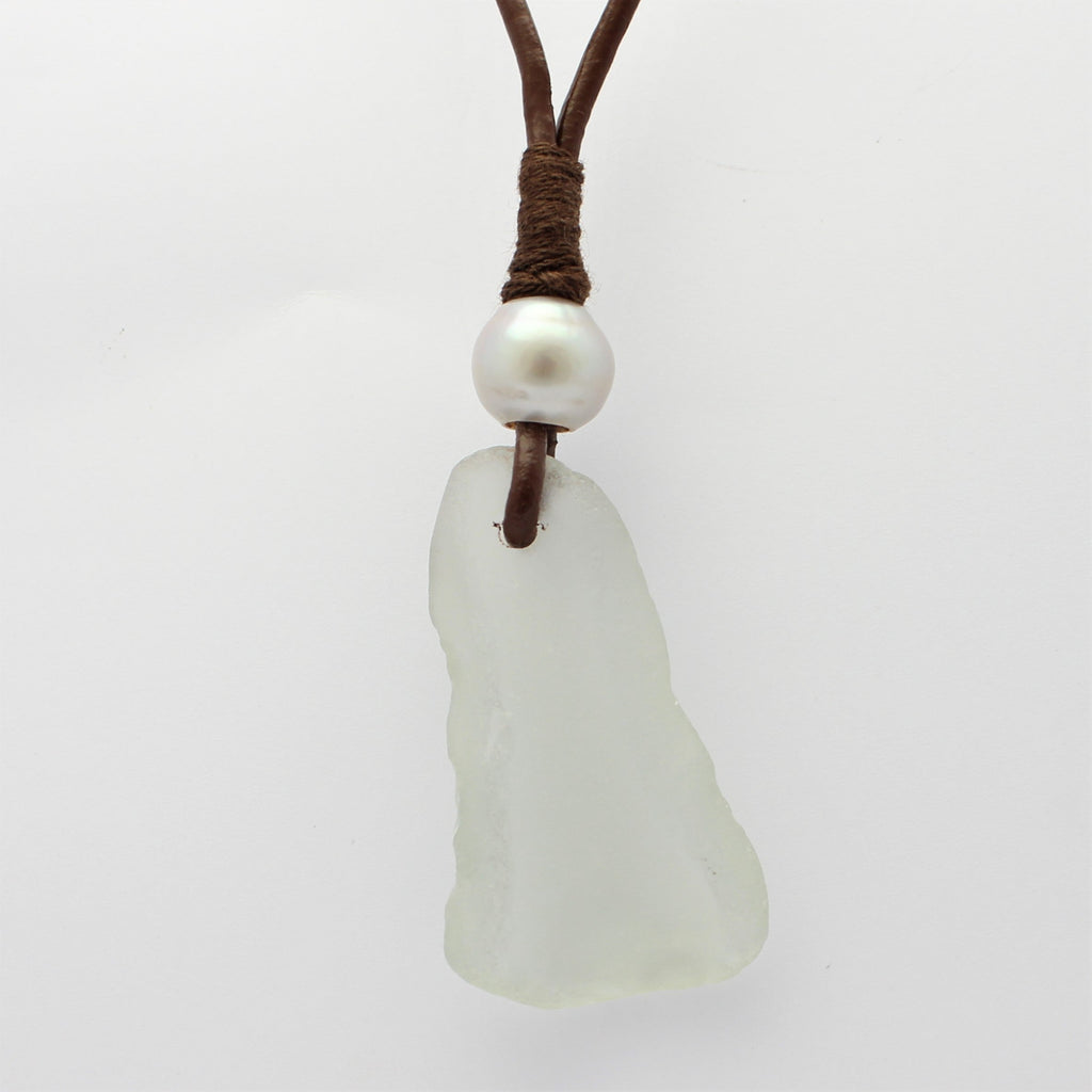 Sea Glass Leather and Abrolhos Island Pearl Necklace