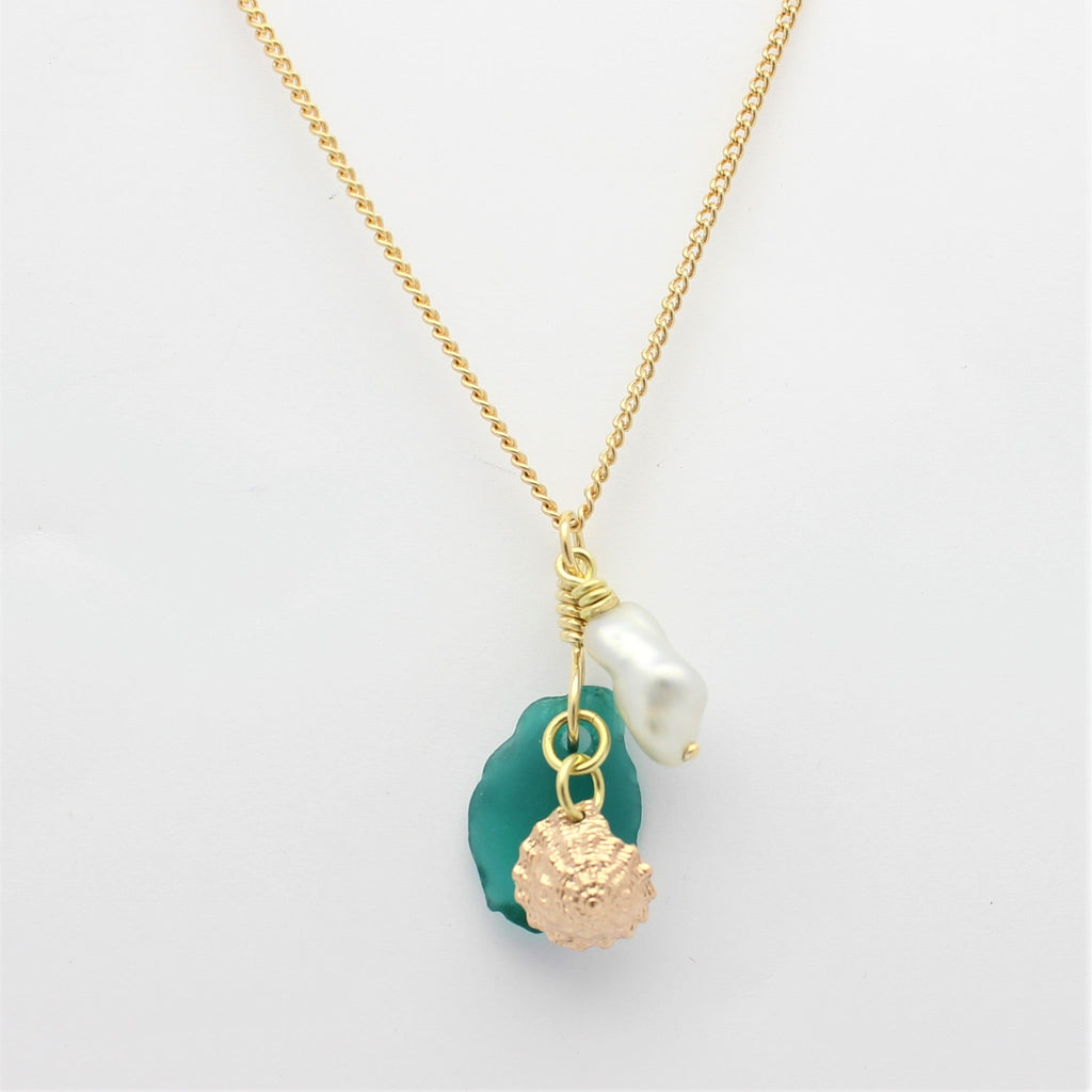 Abrolhos Pearl Gold Shell and Sea Glass Pendant