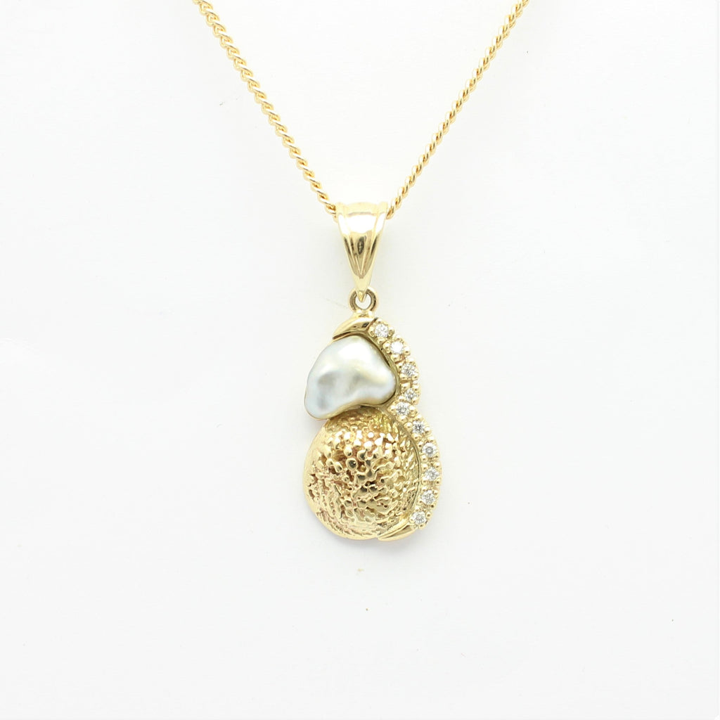 Abrolhos Island Pearl, 9ct gold Shell and diamonds