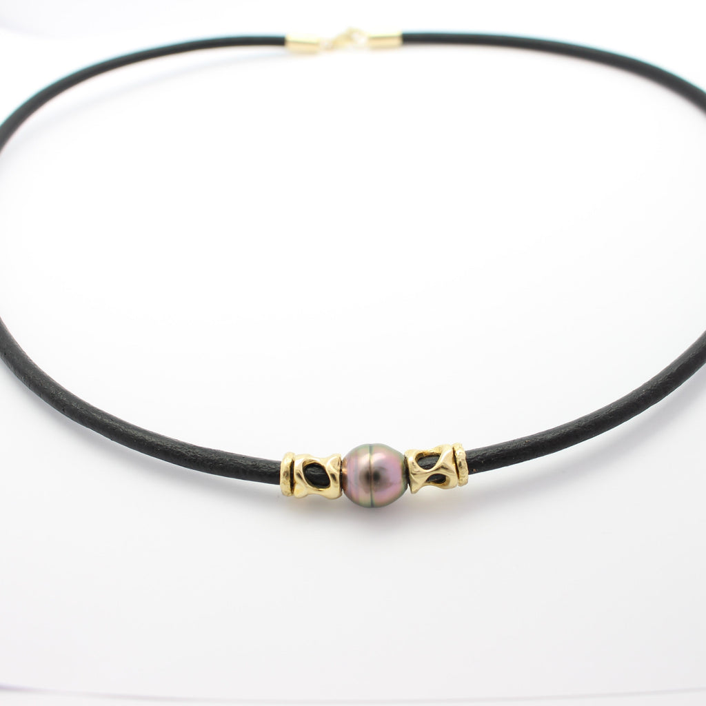 Abrolhos Pearl and Leather Necklet with Gold Coral Decoration
