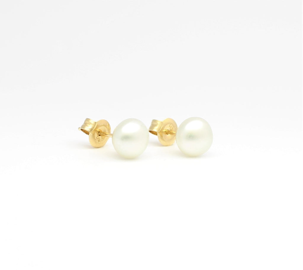 South Sea Yellow Keshi Studs