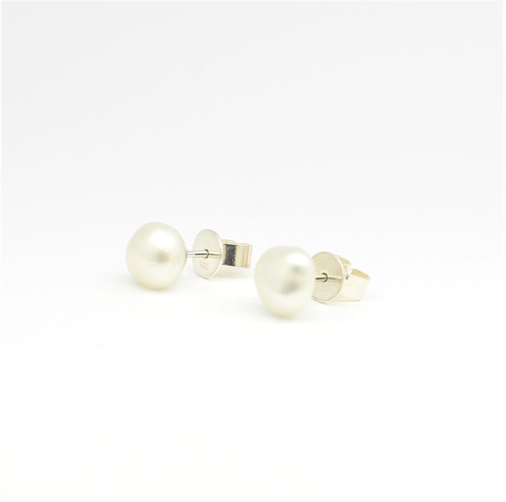 South Sea White Keshi Sterling Silver Stud Earrings