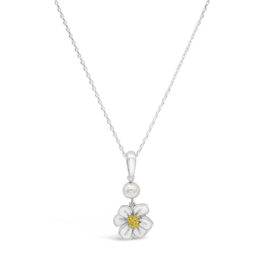 Latitude White & Yellow Enamel Flower and Pearl Pendant