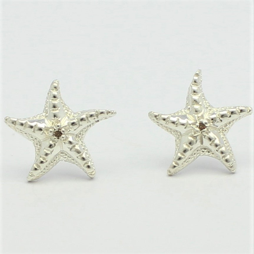 Latitude Starfish Earrings Champagne Diamonds in Sterling Silver