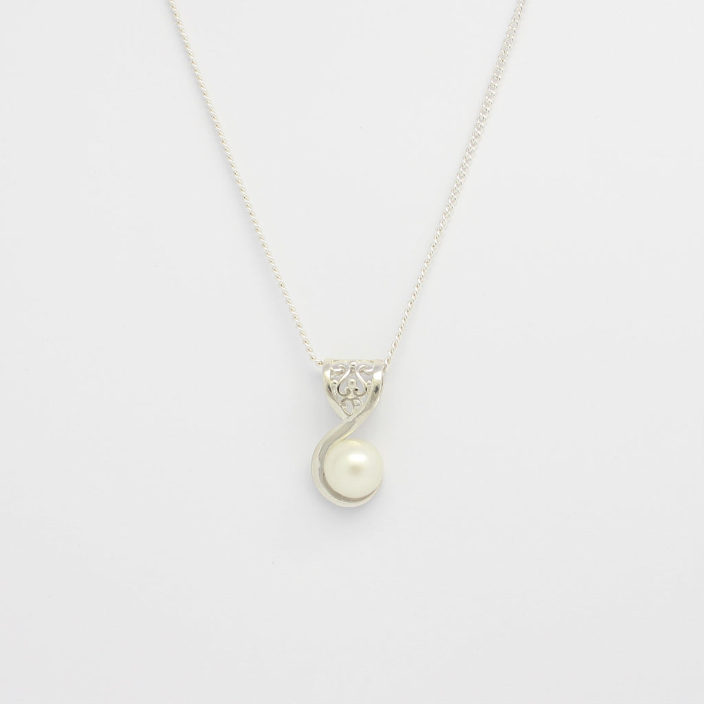White Filigree Swirl Pendant