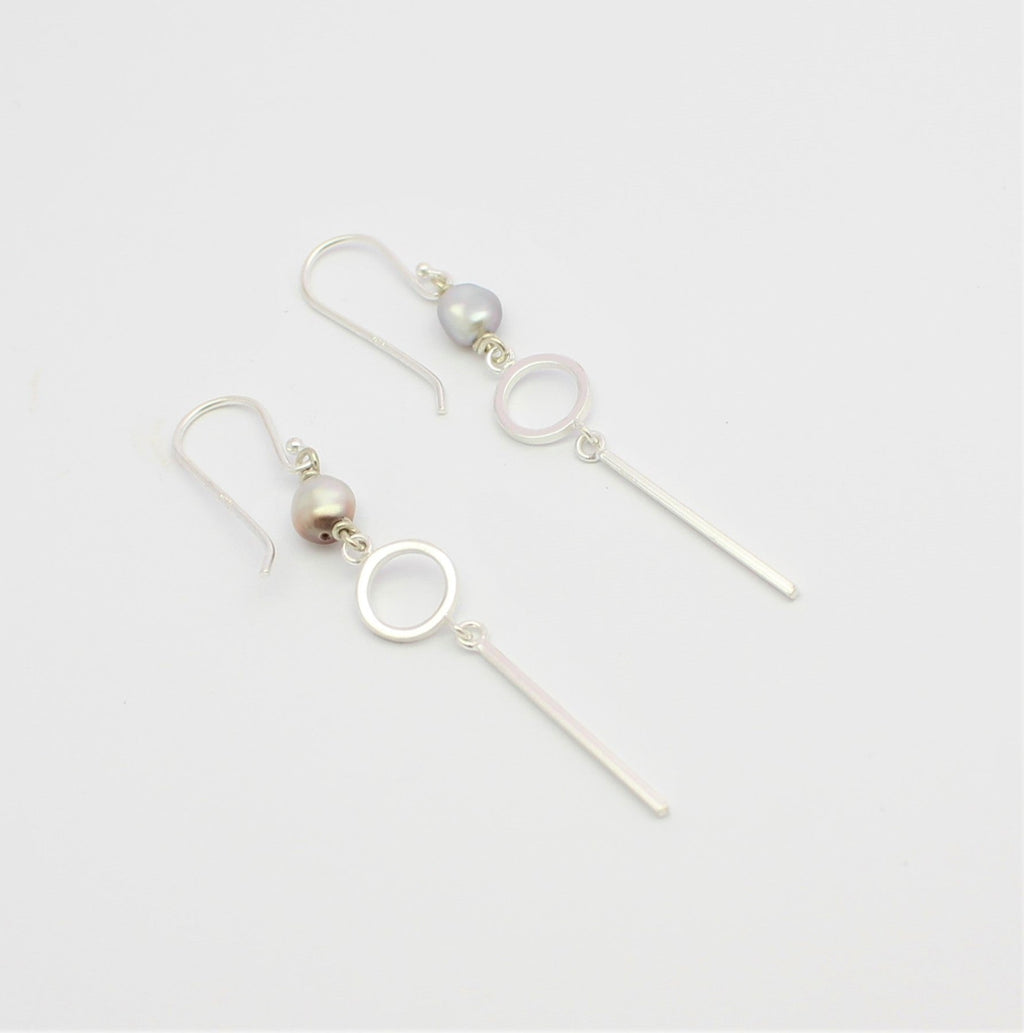 Keshi Circle & Bar  Drop Earrings
