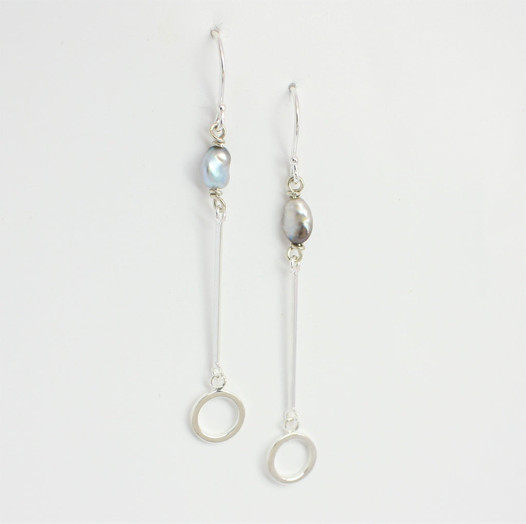 Keshi Bar & Circle Drop Earrings