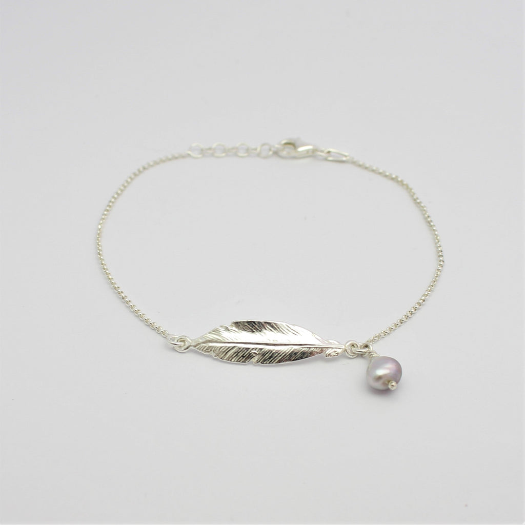 Feather and Abrolhos Pearl Silver Bracelet